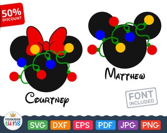 Mickey & Minnie Mouse Head with Lighted Christmas Garland Svg File for Cricut, Silhouette, Disney Christmas clip art, Vinyl for Boys, Girls