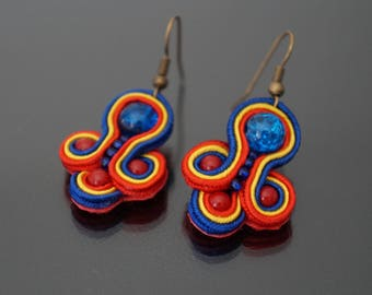 Blue, red and yellow soutache earrings.
