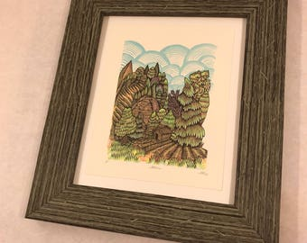 FRAME, distressed wood, gray/green