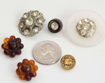Vintage Buttons, Mixed Lot of 6