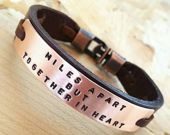 Customized Boyfriend gift Wife to Husband Personalized Gift for Husband gift Mens Leather Bracelet Coordinate Engraved Mens Leather Bracelet