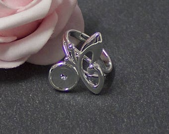 A ring holder Butterfly cabochon 8 mm PA09 silver-plated