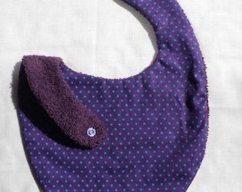Purple bib with polka dots