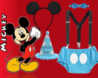Mickey Mouse 1st Birthday Smash Cake Party Outfit Photo Prop Bow Tie Hat Baby Toddler Boys Bottoms FREE EARS