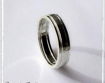 Alliance martelée 3 anneaux argent massif 925 - 4 mm de large - Alliance mariage Pacs