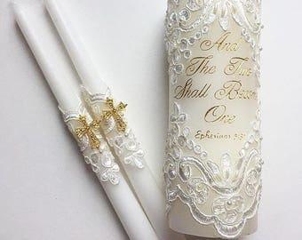 Wedding Unity Candle Set, Lace Unity Candles, Vintage Wedding Candles, Crucifix Candles, Unity Ceremony Set, Church Ceremony 3pcs