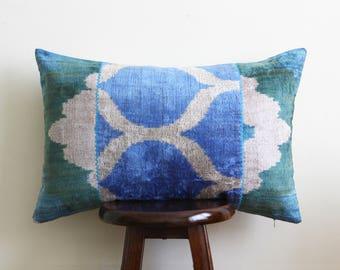 Buhara Handwoven Ikat/Velvet Cushion 16''x24'' - Free shipping USA!