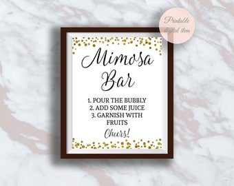 Mimosa Bar Sign, Gold confetti Wedding sign, Bridal shower decor, Bubbly Bar Sign, Champagne Bar, Brunch mimosa sign, Reception sign s3br
