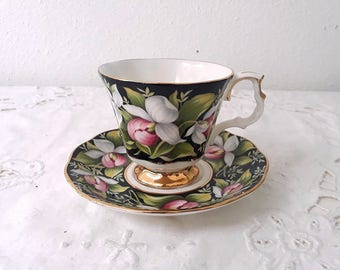 Vintage Royal Albert Provincial Flowers, Lady's Slipper, porcelain teacup from 1975