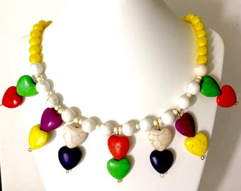Heart Shaped Multi Coloured Hematite Beads Necklace