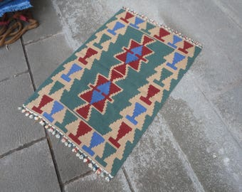 Kilim rug,FREE SHIPPING !!! hand made rug,rustic decor,Turkish vintage rug,39'' x 28'' ,interior design,home decor,flat woven rug,piless rug