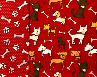 Adorable & Vibrant Red Dog Patterned Child/ Toddler Sized Sewn Blanket