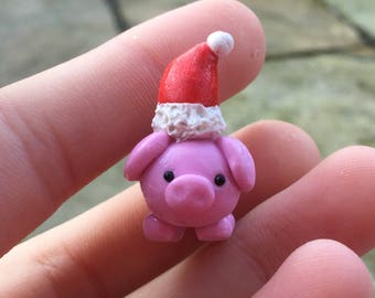 Must go!!Polymer clay christmas pig