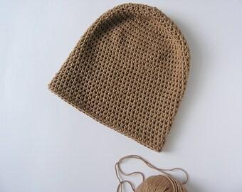 Slouchy baggy beanie. Handmade cafe au lait color hat. Classic cotton crochet spring beanie.