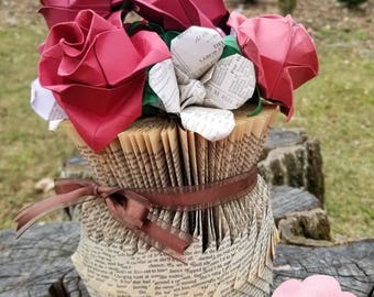 Paper Flower Vase Book Art - origami roses and lilies - mother's day