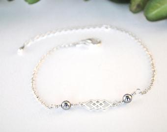 Mia silver bracelet and Hematite beads