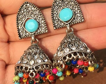 Silver Oxidised Indian Jhumka with Multicolour Dangles
