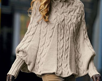 Cable Poncho, Knitting Pattern. Instant Download.