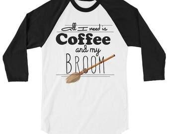 Witchy Coffee and broomsticks 3/4 sleeve raglan shirt