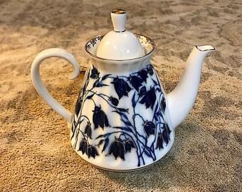 Lomonov Bluebell Russian Porcelain Teapot.  Cobalt Blue.  22K Gold.