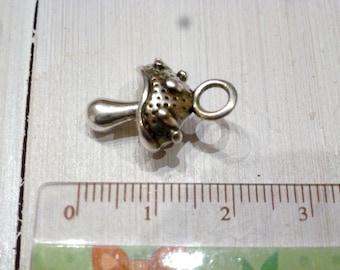 Silver mushroom charm