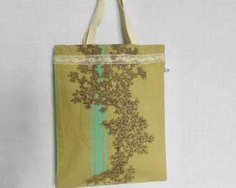lace and canvas tote bag