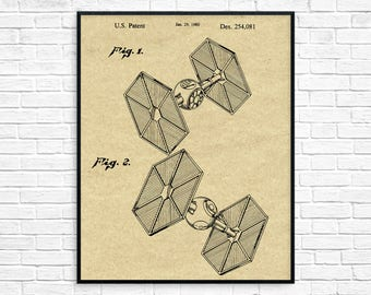 Star Wars TIE Fighter Patent Poster, Star Wars Art, Starwars TIE Fighter Patent, Star Wars Ships, Star Wars Party, Imperial TIE Fighter