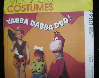 Vintage 1994 Flinstones McCall's 7203 Boy's & Girl's Toddler Costume Pattern for Pebbles, Bamm-Bamm and Dino Size SM (3,4)   UNCUT