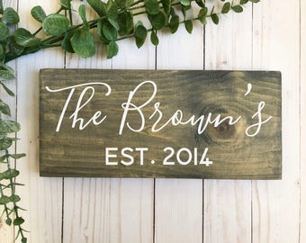 last name sign-personalized sign-wedding gift-anniversary gift-stained wood sign-gray sign-lettered sign-gray stained sign-farmhouse sign