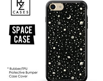 Space Phone Case, Planets Phone Case, iPhone 7 Case, Stars Phone Case, Gift for Her, iPhone 7 Plus, iPhone 6S, Rubber Case, Bumper Case