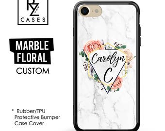 Marble Phone Case, Marble iPhone 7, Personalized Gift for Her, Floral Custom Case, 7 Plus, iPhone 6S, Custom, Gift, Rubber, Bumper