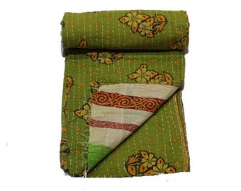 Indian Old Twin Vintage Reversible Kantha Quilt Handmade Cotton Kantha Throw Handmade Blanket cotton Reversible Kantha  Bedspread 27
