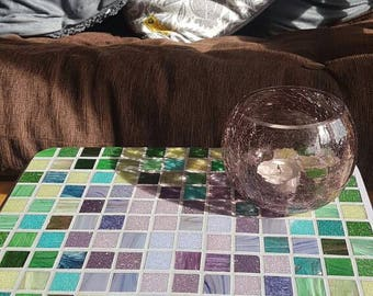 GC012V. Small table, mosaic table, upcycled table, side table, occasional table, entry table, hallway table, modern mosaic, handmade mosaic.