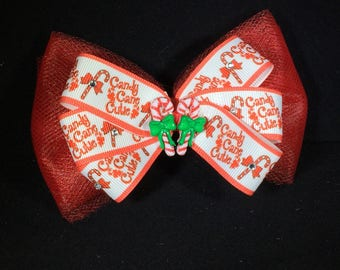 Christmas Candy Cane Cutie Bow