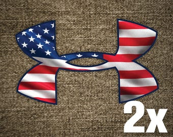 2x UNDER ARMOUR Vinyl Decal Sticker for Car Truck Window Laptop Rare Unique New USA Flag