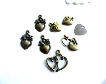 8 bronze mix heart charms