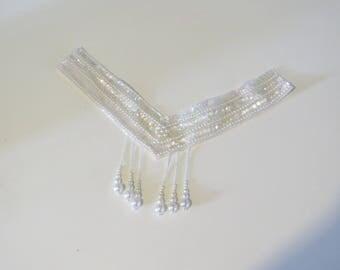 neckline applique Pearl White V neck lace wedding dress