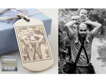 Rectangle keyring // Photo and text engraved