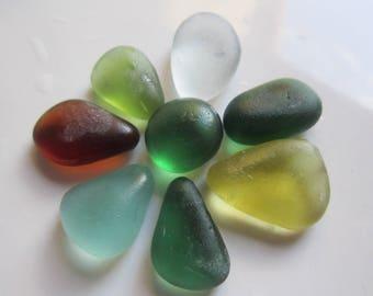 8 pcs Sea Glass multicolour/Beach glass colorful/Bulk sea glass Jewelry making./Art. V-7