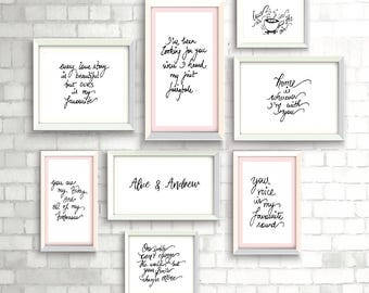Wall Decor customized Photoframe - Wedding Wall Decor - Wall Lettering - Set of Photoframes - Calligraphy Quote Prints - Wall Frame
