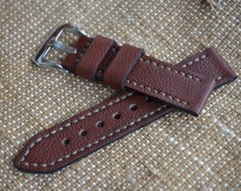 Brown leather watch strap 22mm