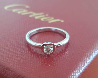 Cartier Diamants Legers Heart Diamond/Engagement/Dress Ring 18k White Gold