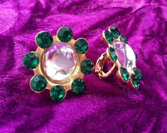 Vintage 1950's Crystal Lucite Jelly Belly Pool of Light Emerald Green Diamante Clip On Earrings