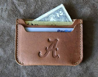The Officially Licensed Alabama Bradford Front Pocket Double Sleeve Fine Leather Wallet