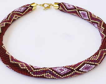 Marsala Crochet bead necklace Seed bead rope necklace Dark red crochet necklace  Geometric beaded rope jewelry Mother Day Gift idea for wife