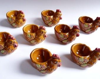 Set of 8 Vintage Egg Cups Chickens Hen Ceramic Pottery Egg Holders Japan