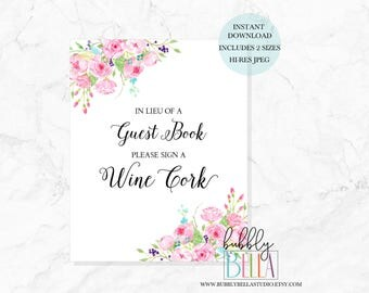 Wine Cork Wedding Guest Book Sign, Printable Wedding Signs Guest Book Cork Sign A Wine Cork Guestbook Sign Wine Guest Book Instant Download