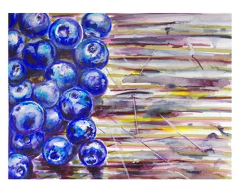 """For the love of blueberries- original watercolor 8x10""""- print"""