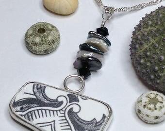 Sea Pottery Pendant, Sea Pottery, Sea Pottery Jewelry, Beach Theme, Bezel Sea Pottery, Bezel Jewelry, Bezel, Bezel Set, Silvery Wrap Jewelry