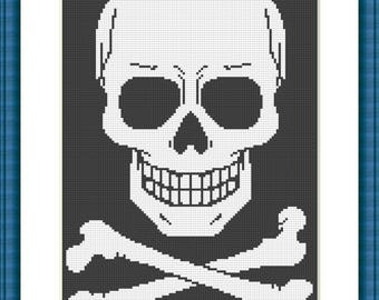Skull cross stitch pattern pdf  download 037